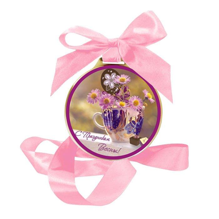 Шоколадная медаль «С праздником Весны» подарить