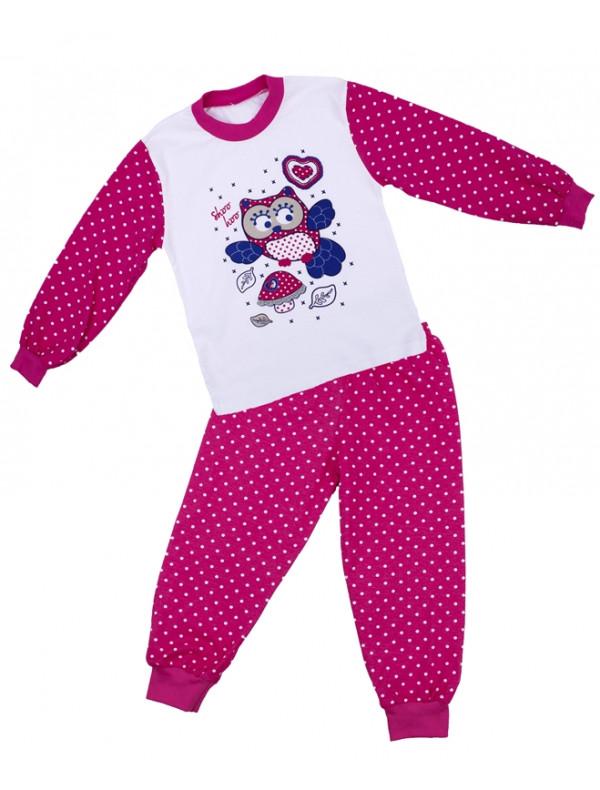 Пижама для девочек с длинным рукавом малинового цвета