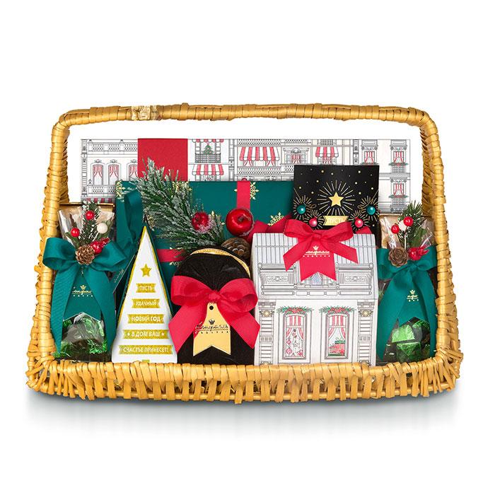 Подарочный новогодний набор «Золотая корзина» подарить