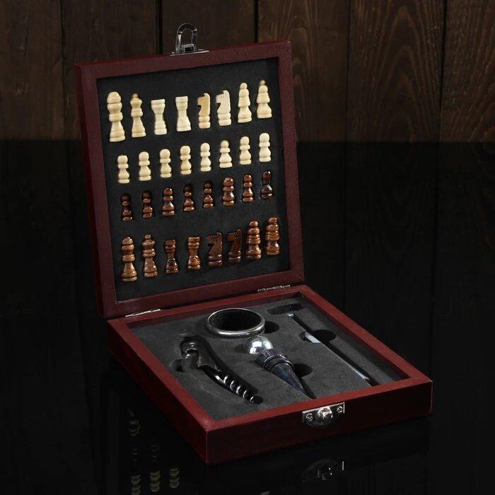 Набор для вина с шахматами подарить